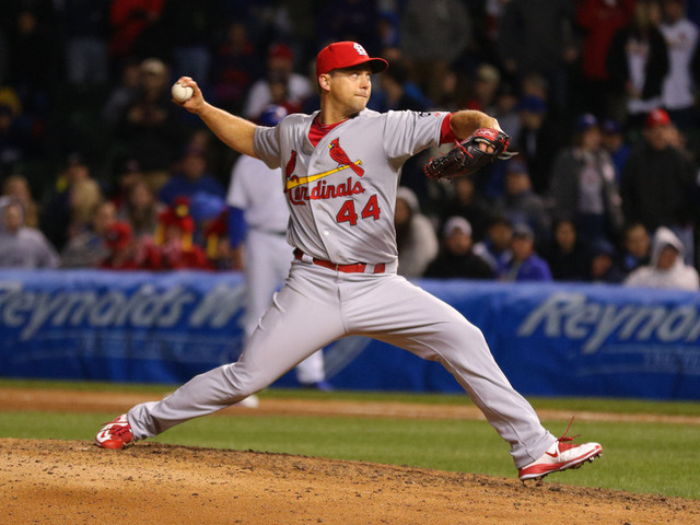 Apr 5, 2015; Chicago, IL, USA; St. Louis Cardinals relief pitcher Trevor Rosenthal (44) delivers a pitch during the ninth inning against the Chicago Cubs at Wrigley Field. (Dennis Wierzbicki-USA T ...