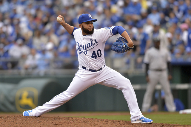 Apr 6, 2015; Kansas City, MO, USA; Kansas City Royals relief pitcher Kelvin Herrera (40) delivers a pitch in the seventh inning against the Chicago White Sox at Kauffman Stadium. (Denny Medley-USA ...