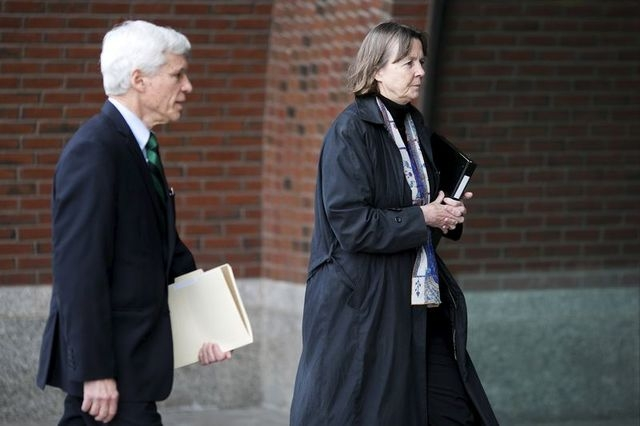 Defense attorneys Judy Clarke and David Bruck arrive before jury deliberations begin in the trial of Boston Marathon bombing suspect Dzhokhar Tsarnaev at the federal courthouse in Boston, April 7, ...