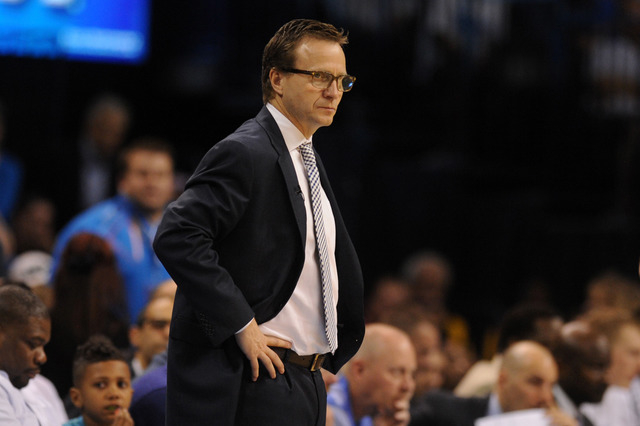 Apr 7, 2015; Oklahoma City, OK, USA; Oklahoma City Thunder head coach Scott Brooks reacts to a play in action against the San Antonio Spurs during the third quarter at Chesapeake Energy Arena. (Ma ...