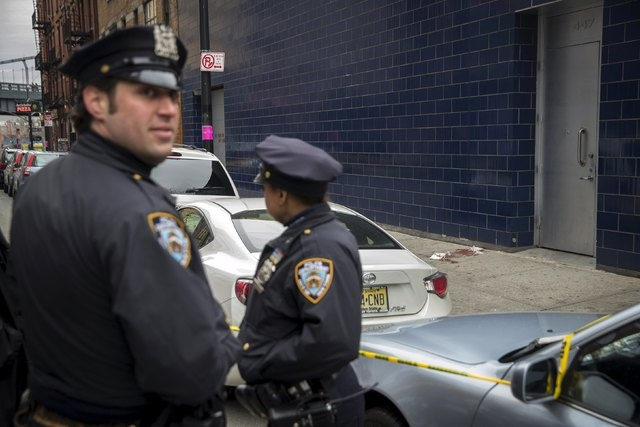 Police guard the scene near the 1 Oak nightclub in New York April 8, 2015. NBA player Chris Copeland of the Indiana Pacers and his wife were stabbed during a dispute outside a New York City nightc ...