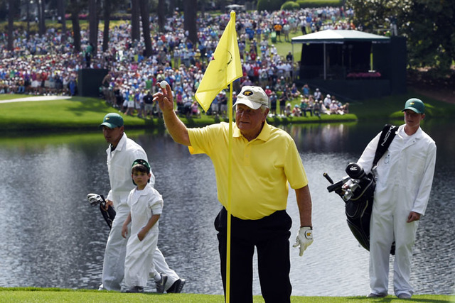 Apr 8, 2015; Augusta, GA, USA; Jack Nicklaus reacts after a hole-in-one on the fourth hole during the Par 3 Contest prior to the 2015 The Masters golf tournament at Augusta National Golf Club. Man ...
