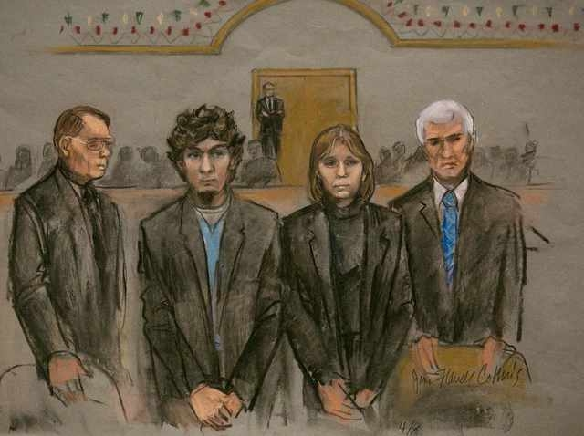 A courtroom sketch shows Boston Marathon bombing suspect Dzhokhar Tsarnaev (2nd L) and his defense team as the verdict is read at the federal courthouse in Boston, Massachusetts April 8, 2015. Tsa ...