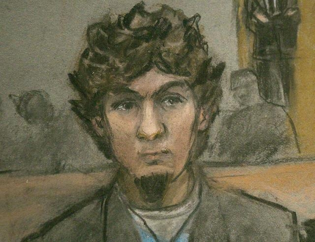 A courtroom sketch shows Boston Marathon bombing suspect Dzhokhar Tsarnaev as the verdict is read at the federal courthouse in Boston, Massachusetts April 8, 2015. Tsarnaev was found guilty on Wed ...