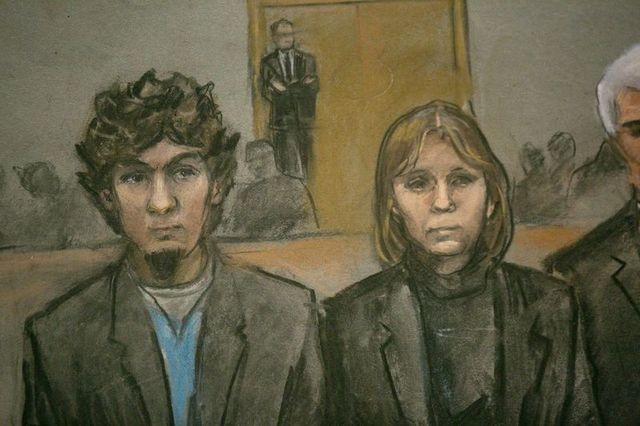 A courtroom sketch shows Boston Marathon bombing suspect Dzhokhar Tsarnaev (L) and his defense team as the verdict is read at the federal courthouse in Boston, Massachusetts April 8, 2015. (REUTER ...