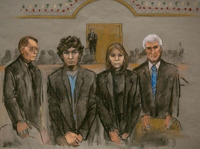 A courtroom sketch shows Boston Marathon bombing suspect Dzhokhar Tsarnaev (2nd L) and his defense team as the verdict is read at the federal courthouse in Boston, Massachusetts April 8, 2015. (RE ...