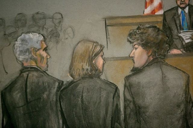 A courtroom sketch shows Boston Marathon bombing suspect Dzhokhar Tsarnaev (R) and his defense team as the verdict is read at the federal courthouse in Boston, Massachusetts April 8, 2015. (REUTER ...