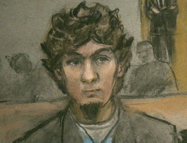 A courtroom sketch shows Boston Marathon bombing suspect Dzhokhar Tsarnaev as the verdict is read at the federal courthouse in Boston, Massachusetts April 8, 2015. (REUTERS/Jane Flavell Collins)
