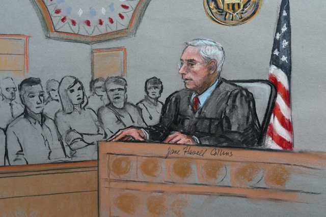 A courtroom sketch shows U.S. District Judge George A. OToole Jr. answering juror's questions during the trial of Dzhokhar Tsarnaev before the verdict was announced in Boston, Massachusetts April  ...