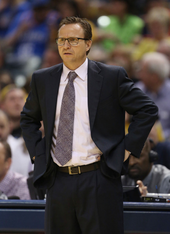 Apr 12, 2015; Indianapolis, IN, USA; Oklahoma City Thunder coach Scott Brooks coaches on the sidelines against the Indiana Pacers at Bankers Life Fieldhouse. Indiana defeats Oklahoma City 116-104. ...