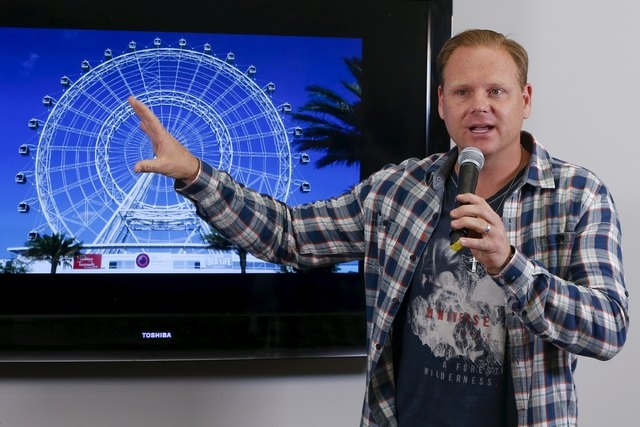 Aerialist Nik Wallenda speaks about the plans for his next feat at the Orlando Eye during a press conference in New York, April 13, 2015. Wallenda plans to walk over the spinning observation wheel ...