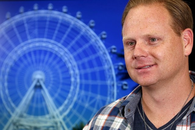 Aerialist Nik Wallenda listens to question about the plans for his next feat at the Orlando Eye during a press conference in New York, April 13, 2015. Wallenda plans to walk over the spinning obse ...