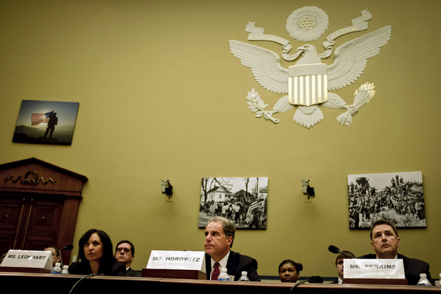 (From L to R) DEA administrator Michele Leonhart, Justice Department Inspector General Michael Horowitz and FBI Associate Deputy Director Kevin Perkins testify before the House Committee on Oversi ...