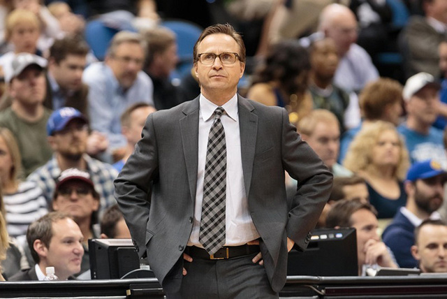 Apr 15, 2015; Minneapolis, MN, USA; Oklahoma City Thunder head coach Scott Brooks stands on the sidelines in the first quarter against the Minnesota Timberwolves at Target Center. (Brad Rempel-USA ...