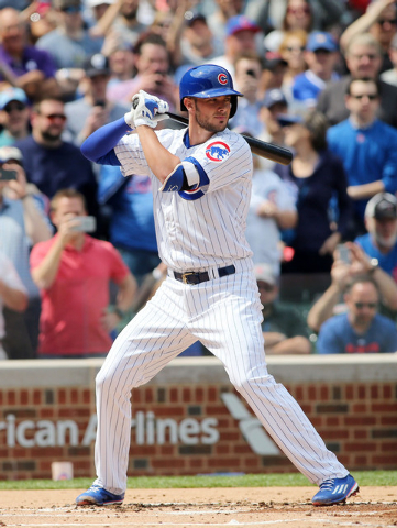 Apr 17, 2015; Chicago, IL, USA; Chicago Cubs infielder Kris Bryant at bat during the first inning against the San Diego Padres at Wrigley Field. (Jerry Lai-USA TODAY Sports)