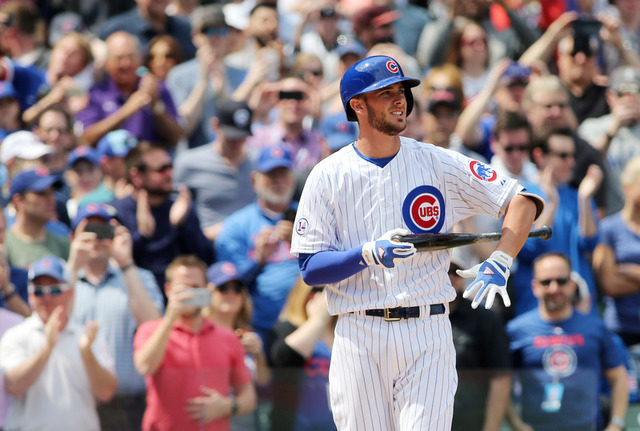 Apr 17, 2015; Chicago, IL, USA; Chicago Cubs infielder Kris Bryant comes up to bat during the first inning against the San Diego Padres at Wrigley Field. (Jerry Lai-USA TODAY Sport)