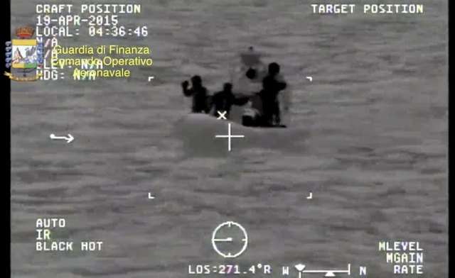 A rescue vessel is seen during the search and rescue operation underway after a boat carrying migrants capsized overnight, with up to 700 feared dead, in this still image taken from video released ...