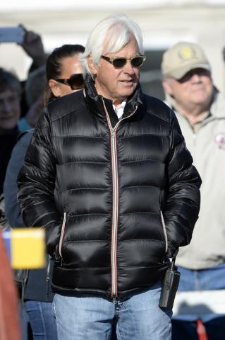 Bob Baffert watches Kentucky Derby Hopeful take a bath at Churchill Downs. (Jamie Rhodes-USA TODAY Sports)