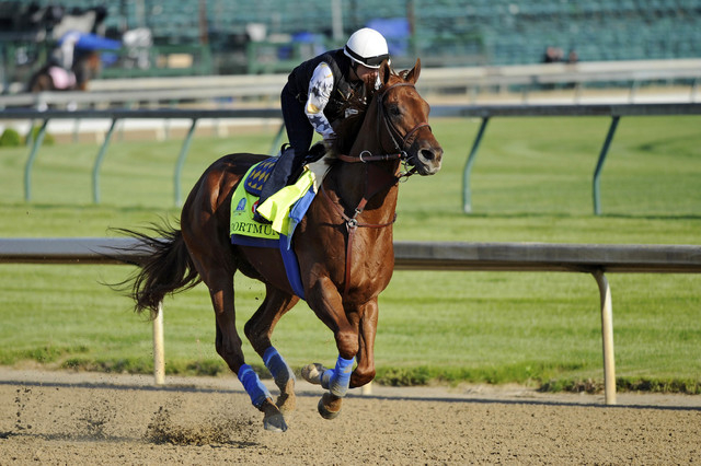 Apr 29, 2015; Louisville, KY, USA; Exercise rider Dana Barnes works out Kentucky Derby hopeful Dortmund trained by Bob Baffert at Churchill Downs. Mandatory Credit: Jamie Rhodes-USA TODAY Sports