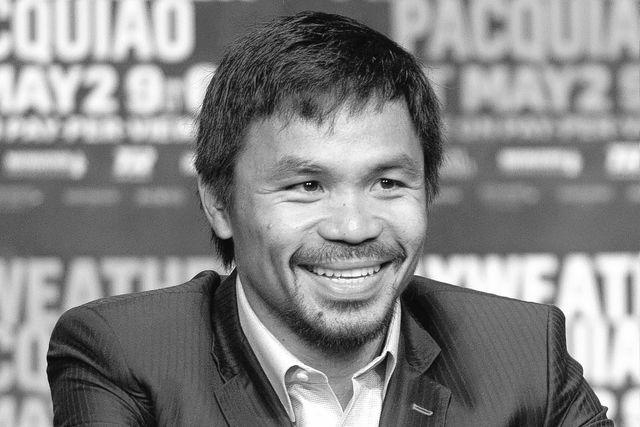 Apr 29, 2015; Las Vegas, NV, USA; Manny Pacquiao looks on during a press conference at KA Theatre. Mandatory Credit: Joe Camporeale-USA TODAY Sports