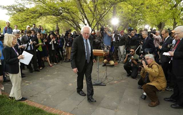 U.S. Senator Bernie Sanders, I-Vt., departs a news conference after he announced his candidacy for the 2016 Democratic presidential nomination, on Capitol Hill in Washington April 30, 2015. (Reute ...