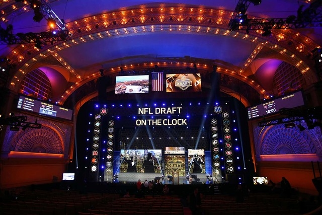 Apr 30, 2015; Chicago, IL, USA; A general view of the stage before the 2015 NFL Draft at the Auditorium Theatre of Roosevelt University. (Jerry Lai-USA TODAY Sports)