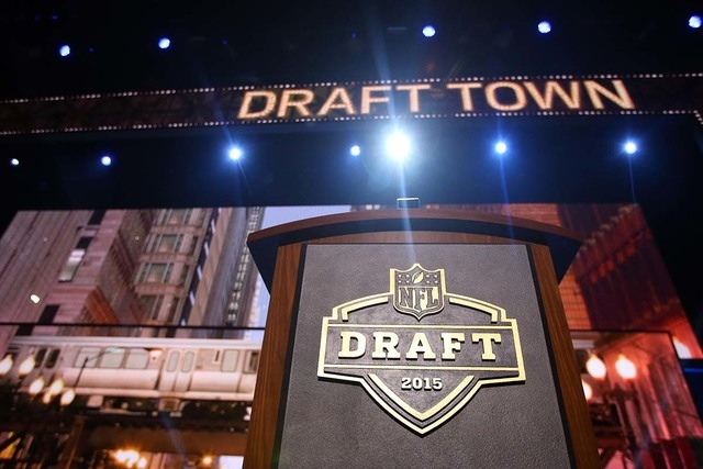 Apr 30, 2015; Chicago, IL, USA; A general view of the podium on stage before the 2015 NFL Draft at the Auditorium Theatre of Roosevelt University. (Jerry Lai-USA TODAY Sports)