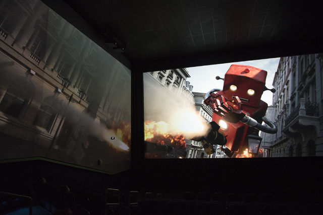 A preview of ScreenX is shown to the media at the AMC Theatres Town Square in Las Vegas on Sunday, April 19, 2015. ScreenX is the world's first multil-projection system that allows theater-goers t ...