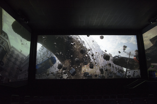 A preview of ScreenX is shown to the media at the AMC Theatres Town Square in Las Vegas on Sunday, April 19, 2015. (Martin S. Fuentes/Las Vegas Review-Journal)