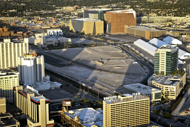 Aerial view of Symphony Park, a 61-acre development in downtown Las Vegas, Friday, June 15, 2012. (Jeff Scheid/Las Vegas Review-Journal)