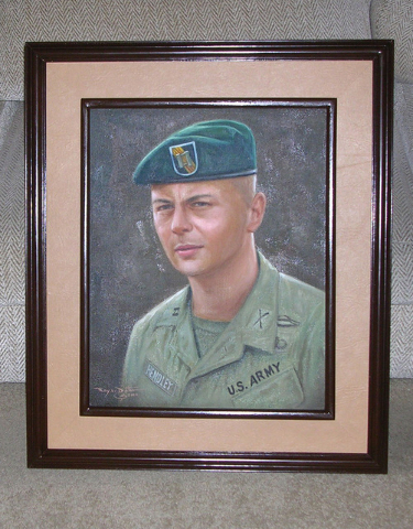 A painted portrait of U.S. Army Special Forces Capt. Al Hendley is displayed at Hendley's Henderson home, Tuesday, April 28, 2015. The portrait features Hendley as he appeared while serving at the ...