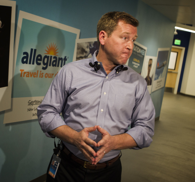 New Allegiant COO Steve Harfst  speaks about the possible APA Teamsters Local 1224 pilots strike during press conference at the Allegiant Air headquarters, 1201 N. Town Center Drive, on Wednesday, ...