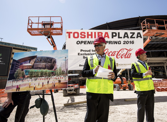 Scott Maccabe, president and CEO of Toshiba America Business Solutions, during a naming  announcement at site of the new arena under construction behind New York-New York on Tuesday, April 7, 2015 ...