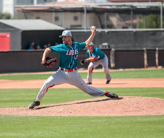 University of New Mexico freshman Luis Gonzalez (27) readies his pitch during a baseball game with the UNLV Rebels and the University of New Mexico Lobos at Wilson Stadium on the UNLV campus, in L ...
