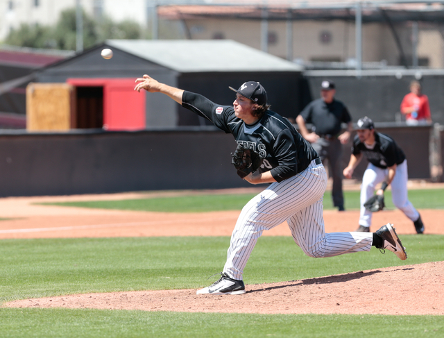 UNLV Rebels sophomore D.J. Myers (40) releases a pitch during a baseball game with the UNLV Rebels against the University of New Mexico Lobos at Wilson Stadium on the UNLV campus, in Las Vegas Sun ...