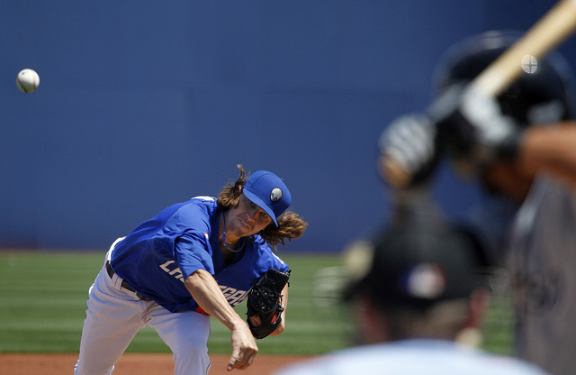 Jacob deGrom pitches against the El Paso Chihuahuas during the second game of the 51s ten game home stand at Cashman Field in Las Vegas on Sunday, April 20, 2014. Degrom is off to one of the best  ...