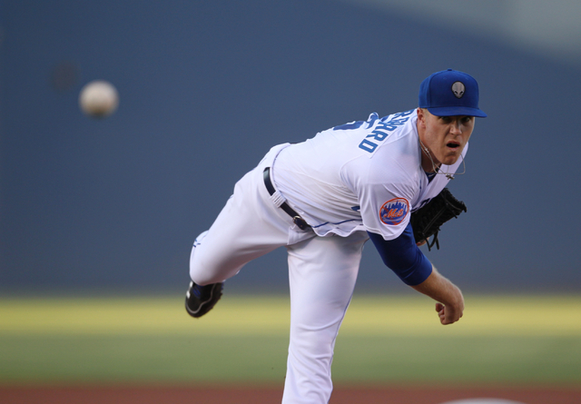 Las Vegas 51s pitcher Noah Syndergaard throws a pitch in the first inning of a baseball game against the Fresno Grizzlies at Cashman Field Thursday, June 5, 2015. Syndergaard was making his first  ...
