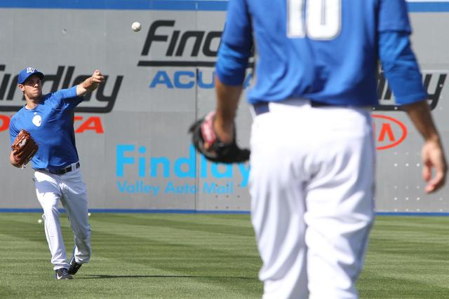 Las Vegas 51s Steven Matz (32) throws a ball in practice during media day at Cashman Field in Las Vegas Tuesday, April 7, 2015. (Erik Verduzco/Las Vegas Review-Journal) Follow Erik Verduzco on Twi ...