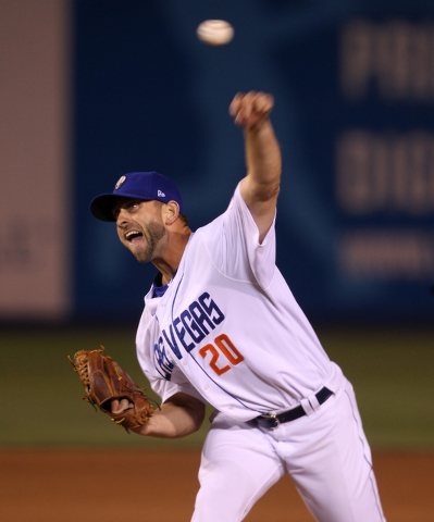 Las Vegas 51s left handed pitcher Duane Below throws to the Fresno Grizzlies during the 51s home opener Friday, April 17, 2015, at Cashman Field. (Sam Morris/Las Vegas Review-Journal) Follow Sam M ...