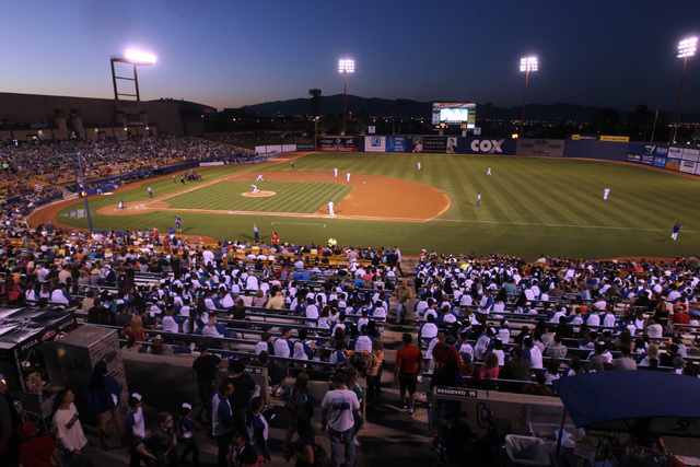 The Las Vegas 51s take on the Fresno Grizzlies during the 51s home opener Friday, April 17, 2015, at Cashman Field. (Sam Morris/Las Vegas Review-Journal) Follow Sam Morris on Twitter @sammorrisRJ