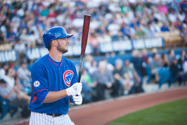 Kris Bryant of the Chicago Cubs warms up on deck during a game against the Oakland Athletics during the Big League Weekend exhibition baseball game at Cashman Field in Las Vegas on Friday, March 1 ...
