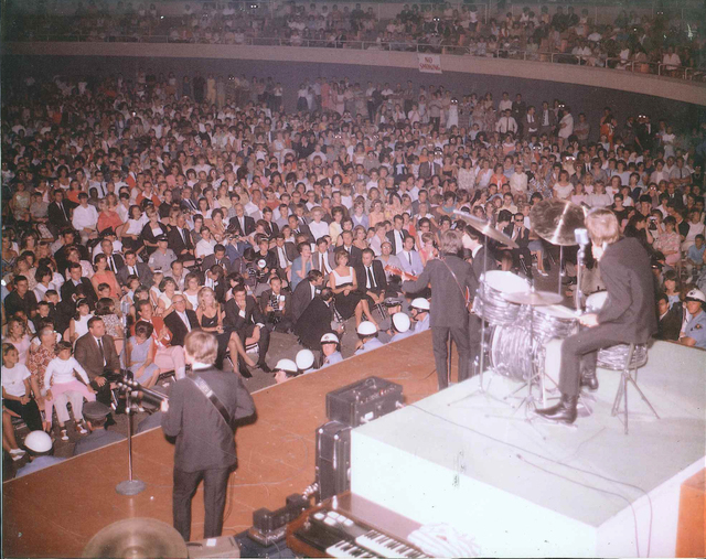Sig Rogich can be found somewhere in this mass of celebrities and other Beatles fans who saw the foursome play the Las Vegas Convention Center 50 years ago. (Photo courtesy Sig Rogich)