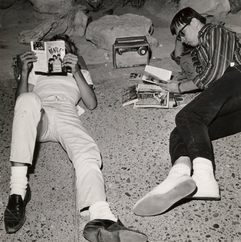 Beatles fans camp overnight outside the Las Vegas Convention Center on June 29, 1964 as they wait for concert tickets to go on sale. (Terry Todd/Las Vegas Review-Journal)