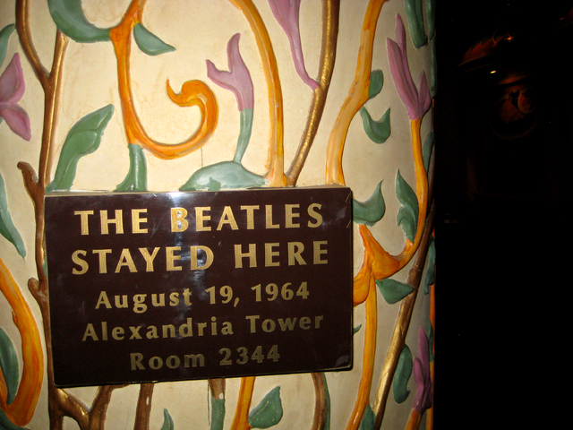 A plaque at the Sahara Hotel, shown here on May 15, 2011, commemorates the night that The Beatles stayed at the Sahara Hotel and Casino. (Michael Quine/Las Vegas Review-Journal)