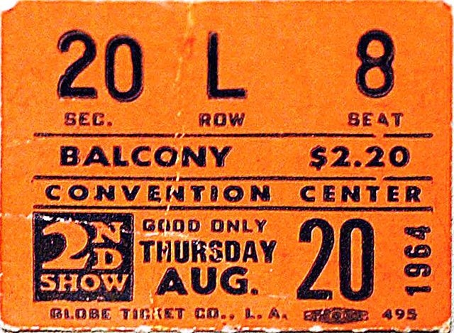 A ticket stub from The Beatles' second show here. (File, Las Vegas Review-Journal)