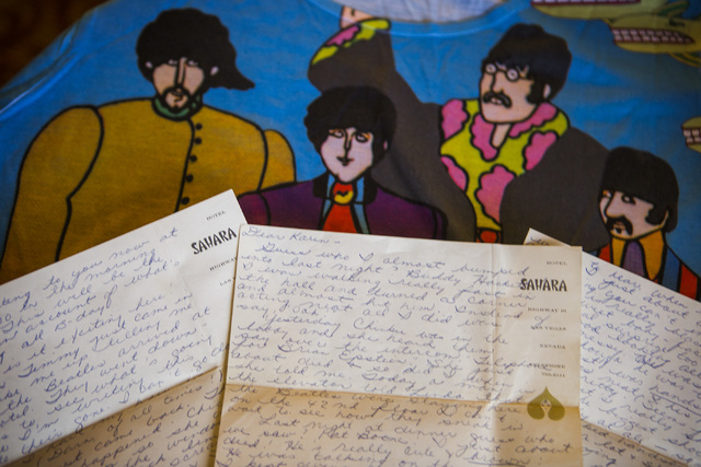 Christie Mullikin Jones attended a 1964 Beatles show in Las Vegas and wrote letters -- on official Sahara stationery -- to her friend describing what she saw and heard. (Jeff Scheid/Las Vegas Revi ...