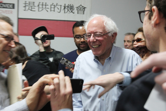 U.S. Sen. Bernie Sanders is greeted by supporters after speaking at the Culinary Local 226 union hall Tuesday, March 31, 2015. (Sam Morris/Las Vegas Review-Journal) Follow Sam Morris on Twitter @s ...