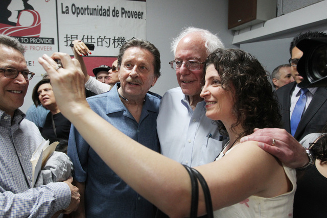 U.S. Sen. Bernie Sanders has his photo taken with a couple supporters after speaking at the Culinary Local 226 union hall Tuesday, March 31, 2015. (Sam Morris/Las Vegas Review-Journal) Follow Sam  ...