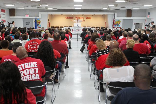 U.S. Sen. Bernie Sanders speaks at the Culinary Local 226 union hall Tuesday, March 31, 2015. (Sam Morris/Las Vegas Review-Journal) Follow Sam Morris on Twitter @sammorrisRJ