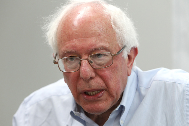 U.S. Sen. Bernie Sanders talks to reporters after speaking at the Culinary Local 226 union hall Tuesday, March 31, 2015. (Sam Morris/Las Vegas Review-Journal) Follow Sam Morris on Twitter @sammorrisRJ